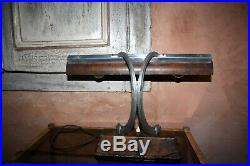 Claude Lumiere Lampe en métal imitation bois de loupe art déco Rare Bauhaus 1930