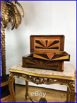 Coffret / Boîte Ancienne A Jeux / Jetons En Marqueterie Epoque Art Deco