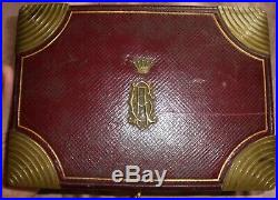 Coffret / boîte à bijoux art déco / années 30 Cuir Laiton doré Couronne de Comte