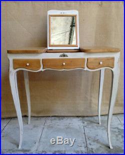 Coiffeuse avec miroir de style Louis XV blanc cassé et bois clair