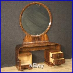 Coiffeuse meuble en bois de noyer style ancien Art Deco miroir commode table