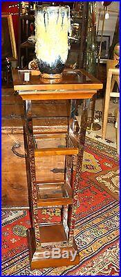 Colonne / sellette / console haute style Art déco inox, bois et verre
