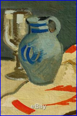 Compostion Art-Déco, 1925, Peintre à Identifier! Cadre Bois Sculpté d'Origine