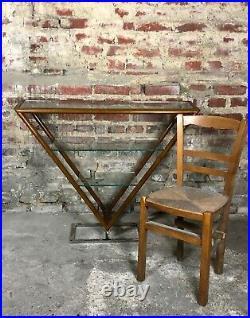 Console Brooklyn haute style Art déco en bois et verre, pied chromé