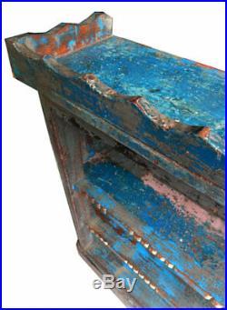 Console Etagere Bleue Art Deco Longue Etroite Bois Teck 184x24x103,5cm