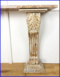 Console Murale À Piètement En Bois Sculpté Avec Son Dessus De Marbre Brèche