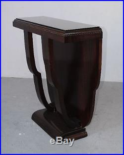 Console bois noirci 1930 art déco dessus verre