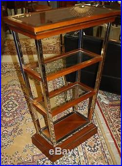 Console haute en inox, bois et verre