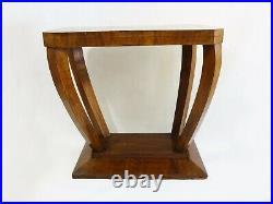 Console, table d'appoint Art Déco en bois, pieds en arc de cercle. Art Déco