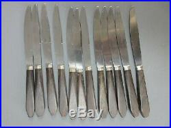 Couteaux Ancien Inox Bois Exotique Ébène Macassar 24 Table Dessert Art Deco Unic