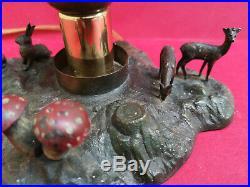Curieuse lampe champignon ancienne décor animaux des bois vitraux dlg Tiffany