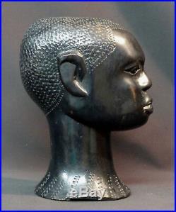 D 1940 très beau buste ancien tête statue art afrique 22cm1.9kg ébène déco ++