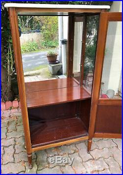 Détails sur Ancien Meuble vitrine miroir en BOIS et MARBRE art déco design PR