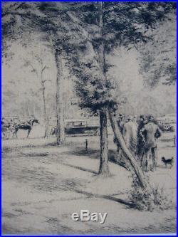 Edgar Chahine Belle gravure Au Bois Vincennes Boulogne N° 2/100 Cadre époque
