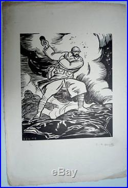 Eduardo Garcia Benito. Bois signé et numéroté. Grenadier. Vers 1915