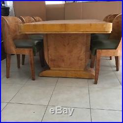 Ensemble table chaises bateau art déco en placage de bois jaune. XX siècle