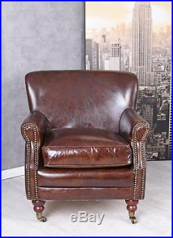 Exclusive fauteuil Club Francais Art Deco cuir cadre en bois et peint à la main