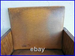 FAUTEUIL 1930-1940 ART DECO Bois CUIR Mobilier Wood chair Design Ancien Art