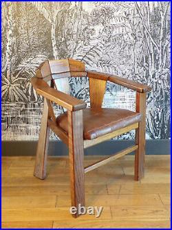 FAUTEUIL CUIR BOIS ART DéCO-DESIGN 1970-80-DLG SAFARI-travail fançais