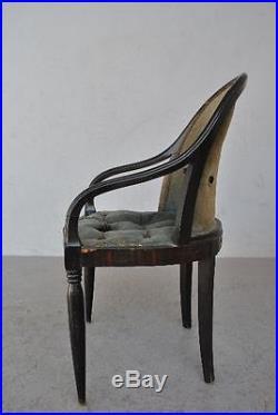 Fauteuil 1930 Art déco en bois noirci