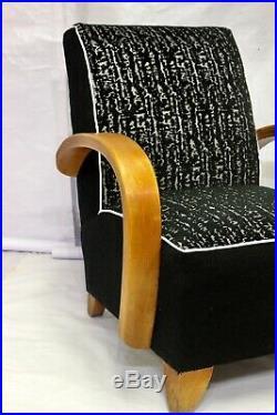 Fauteuil Art Déco 1930 bois courbé dans le style de Jindich Halabala, retapissé