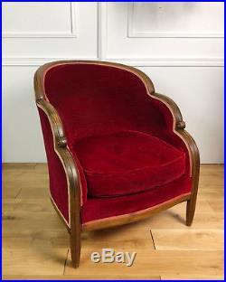 Fauteuil D'époque Art Déco En Bois Et Velours Rouge