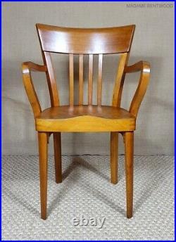 Fauteuil bureau FISCHEL art déco, style bistrot, bois courbé, no baumann thonet