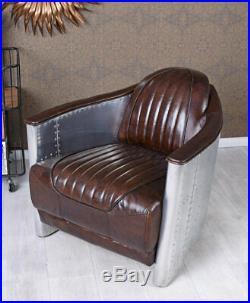 Fauteuil cuir brun avion fauteuil club Art Deco peint à la main cadre en bois