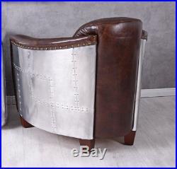 Fauteuil en cuir peint à la main avion fauteuil club aluminium cadre en bois