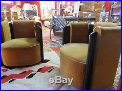 Fauteuils (la paire) Art Déco 1950 en velours et bois noirci