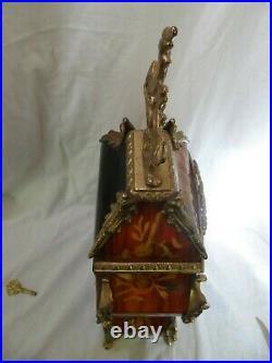 Franz Hermle Pendule Bronze Bois De Rose Bel Etat Fonctionne Parfaitement