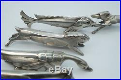 GALLIA CHRISTOPHE Coffret 12 porte-couteaux animaux de E. M. SANDOZ Art Déco