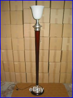 GRAND LAMPADAIRE MAZDA EPOQUE 1930 LAMPE chrome alu et bois couleur acajou. En p