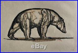 GRAVURE sur Bois Art Deco OURS POLAIRE signée PAUL JOUVE woodcut polar bear