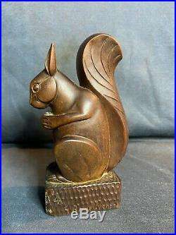 G. ROUXEL-VARENNE, Sculpture Post-Cubiste Art Deco, Bois Taille Directe Écureuil