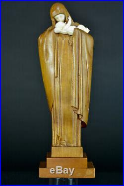 Gde Statue Art Déco Vierge à L'Enfant Heuvelmans chryséléphantine bois sculpté