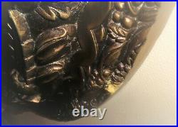 Grand Miroir Rond Art Deco Stuck Bois Bronze Ancien 110 CM Spectaculaire