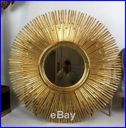 Grand Miroir Soleil En Bois Doré De 150 CM De Diamètre Des Années 70 Très Déco