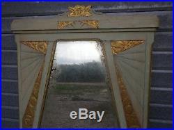 Grand Miroir d'époque Art Déco en bois, Décor floral 147,5 cm x 82,5 cm