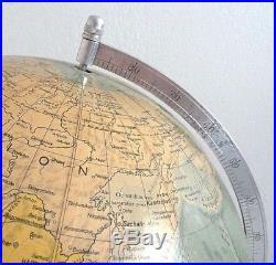Grand globe terrestre, mappemonde, Allemagne d'époque Art-Déco. H. 50 cm