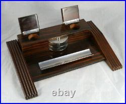 Grand nécessaire garniture de bureau Art Deco ébène de macassar début XXè ancien