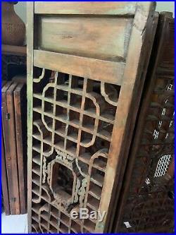 Grand paravent ancien chinois en bois XXeme siècle