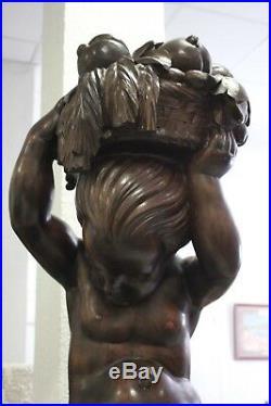 Grande Sculpture En Bois Enfant Au Panier, Art Deco