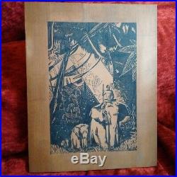 Grande illustration sur panneau de bois Paul Jouve Livre de la Jungle Art Deco