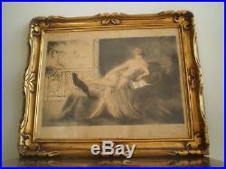 Gravure Femme Au Chat Art Deco E Naudy Renaudin Cadre Sculpte 1930 Dlg Icart