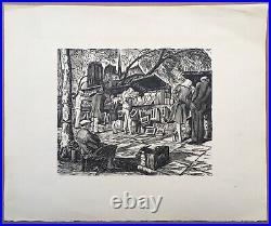 Gravure Originale Bois Jean Chièze Scène Paris Notre-Dame Bouquinistes Art Déco