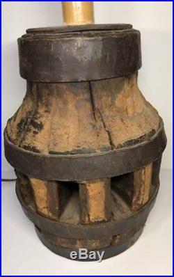Grosse Lampe Vintage Bois Et Métal Idéal Déco Vintage Industrielle En L'état