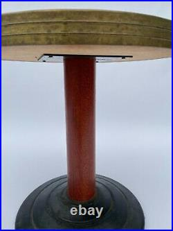 Gueridon Art Deco De Paquebot Pied Leste 1930 1940 Laiton Bois Fonte L182