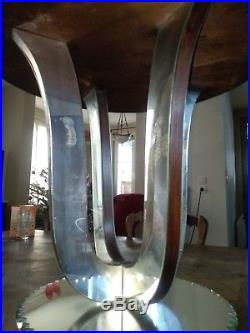 Gueridon table de salon art deco glace verre vitre bois pietement plateau glace