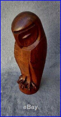Hibou Art Déco en bois sculpté dans le goût de Edouard Marcel Sandoz